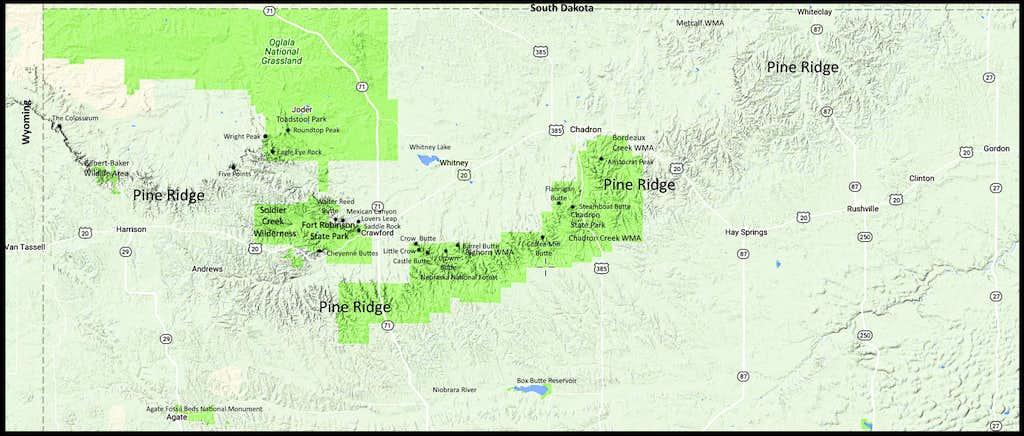Pine Ridge Area Map