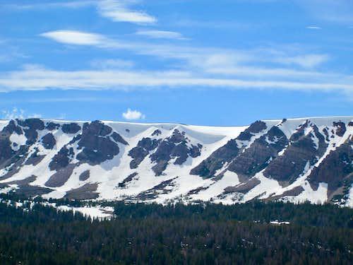 Overhanging cornices seen on the approach to Kings Peak, Uinta Range, Utah