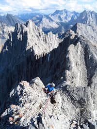 Rappelling summit ridge above gully section