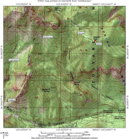 Map of the Fletcher Peak...