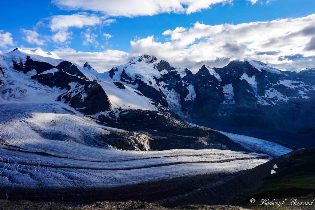 Evening view of Piz Bernina & Pers Glacier