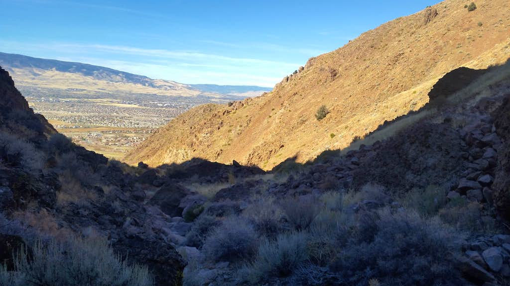 View back to civilization in Eagle Canyon