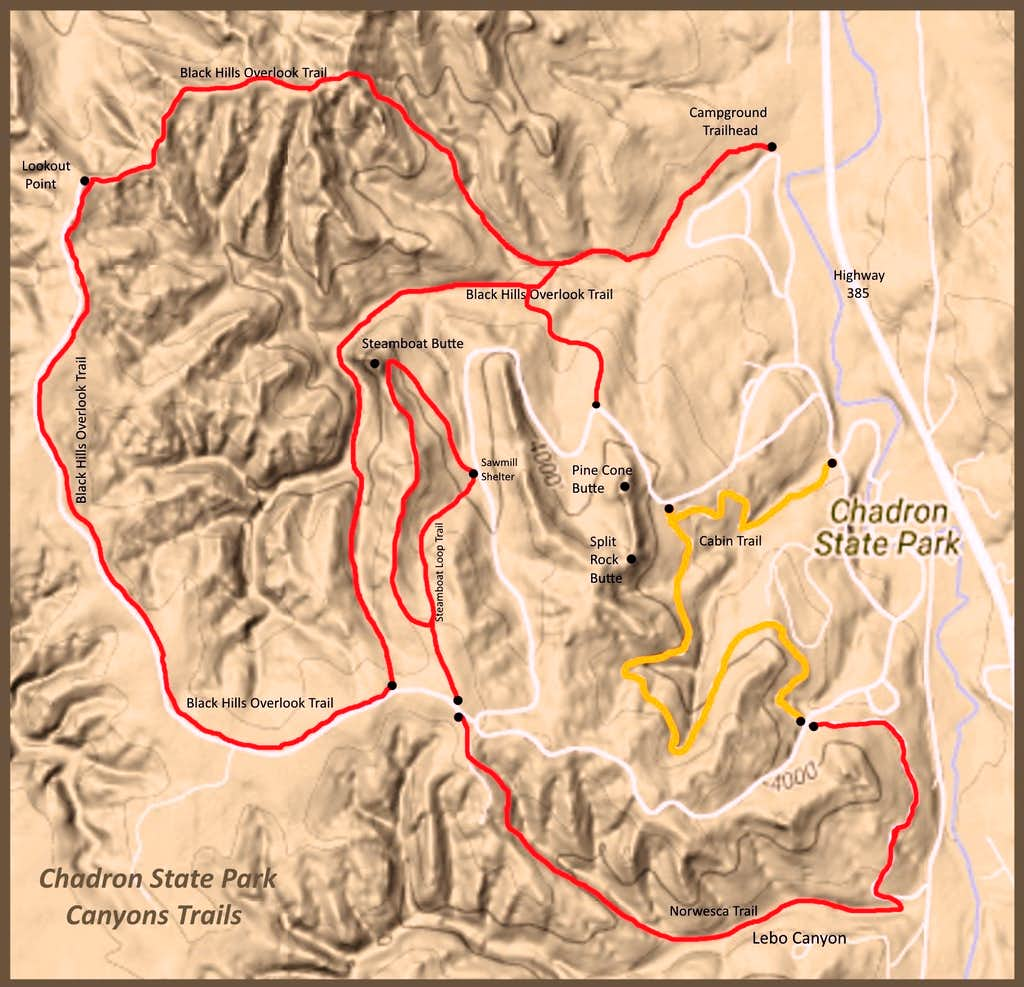 Chadron State Park Canyons Trail Map