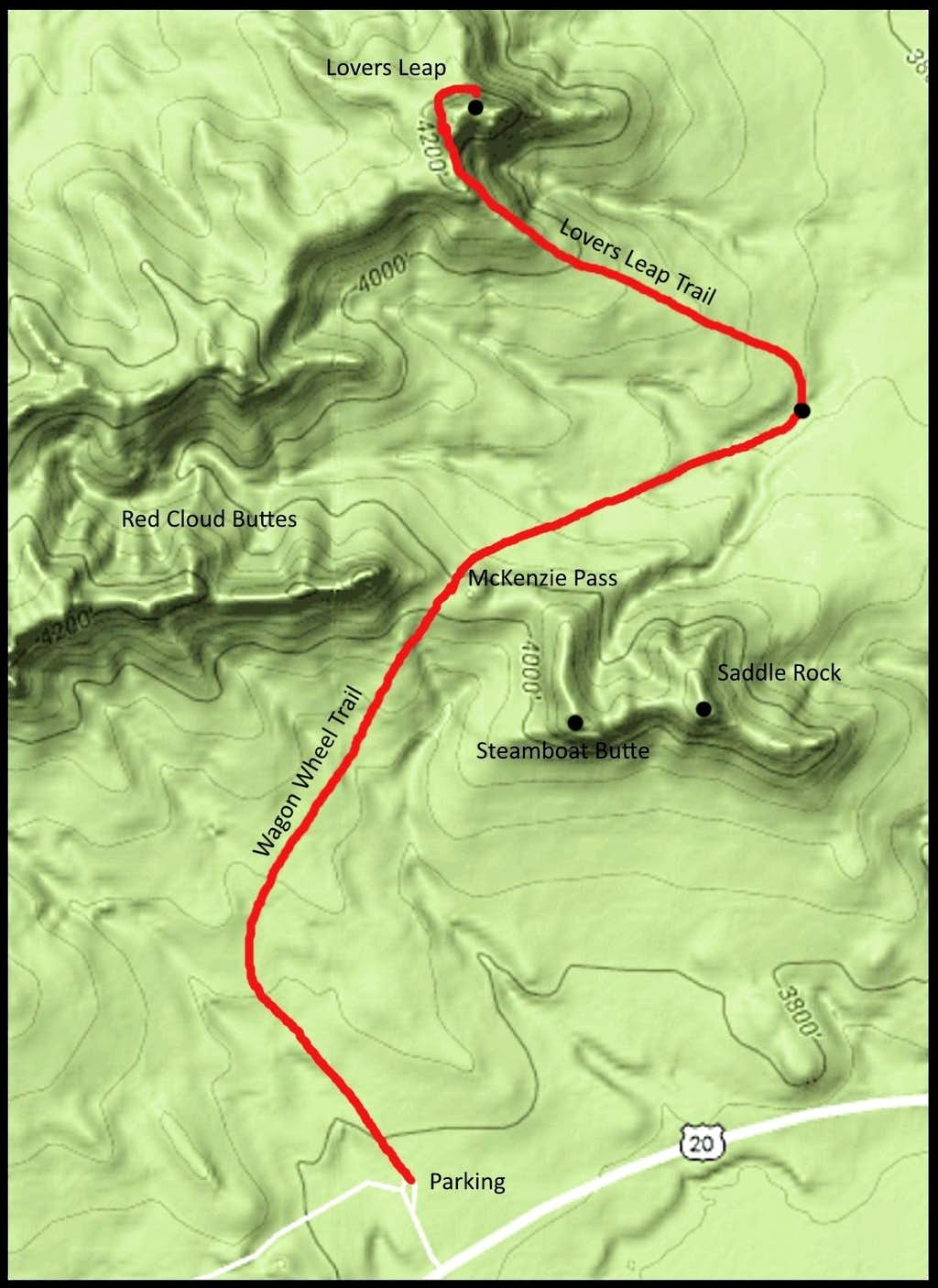 Lovers Leap Trail Map