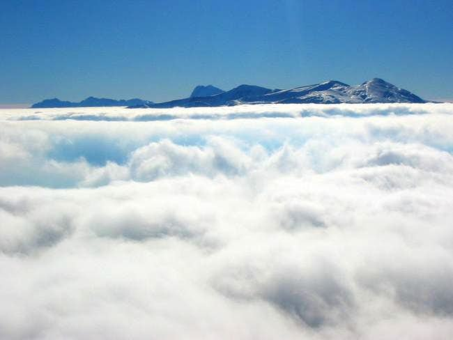 above the clouds. climbing...