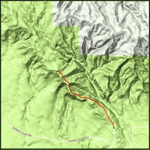 Walter Reed Butte Hiking Route