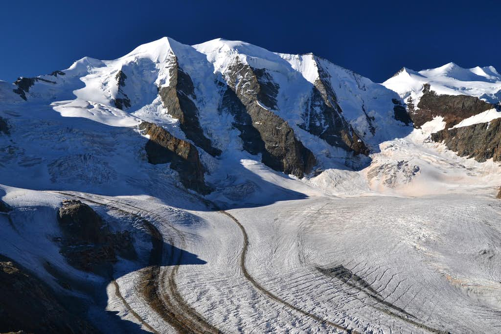 Piz Palü rising above the Pers glacier