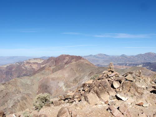 Summit Cairn on Dante Benchmark & the Ridge Leading to Mount Perry