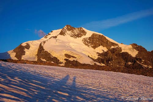 Alpenglow on Piz Bernina (NE-Face; 13280 ft / 4048 m)