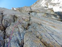 Upper part of the route, Maxim Foygel is leading