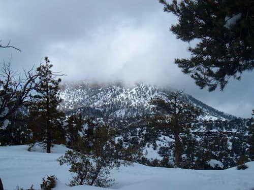 Macks Peak shrouded in clouds...