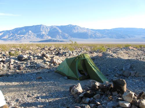 Our Campsite at Panamint Springs With Towne Benchmark in the Background
