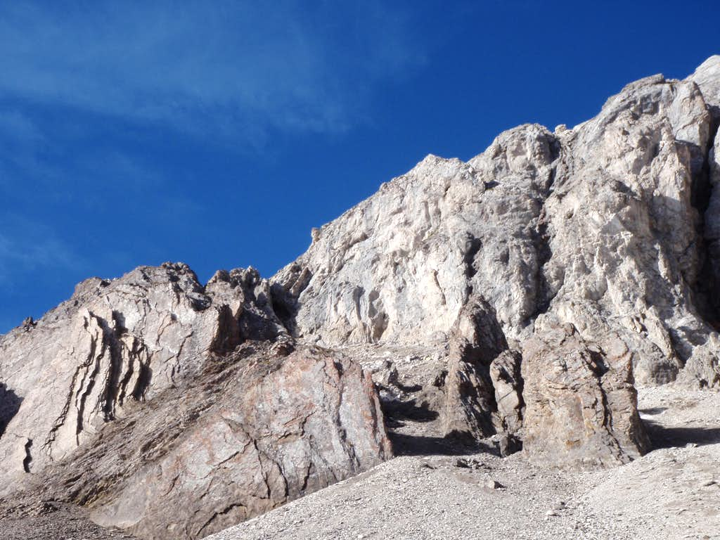 Nearing narrow scree gully