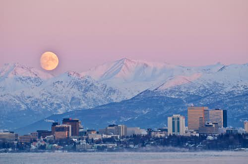 Moonrise over Anchorage