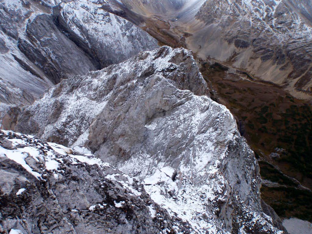 View down upper North Ridge