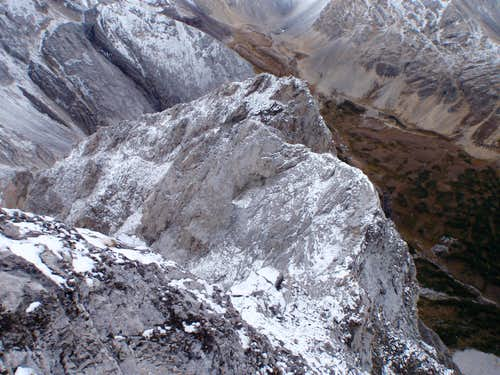 View down upper North Ridge