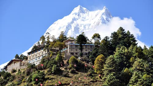 Manaslu and monastery