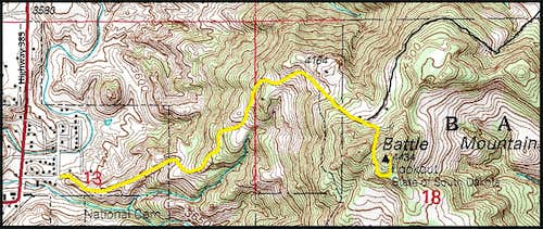 Battle Mountain Hiking Route