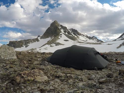 tent in front of bastion peak
