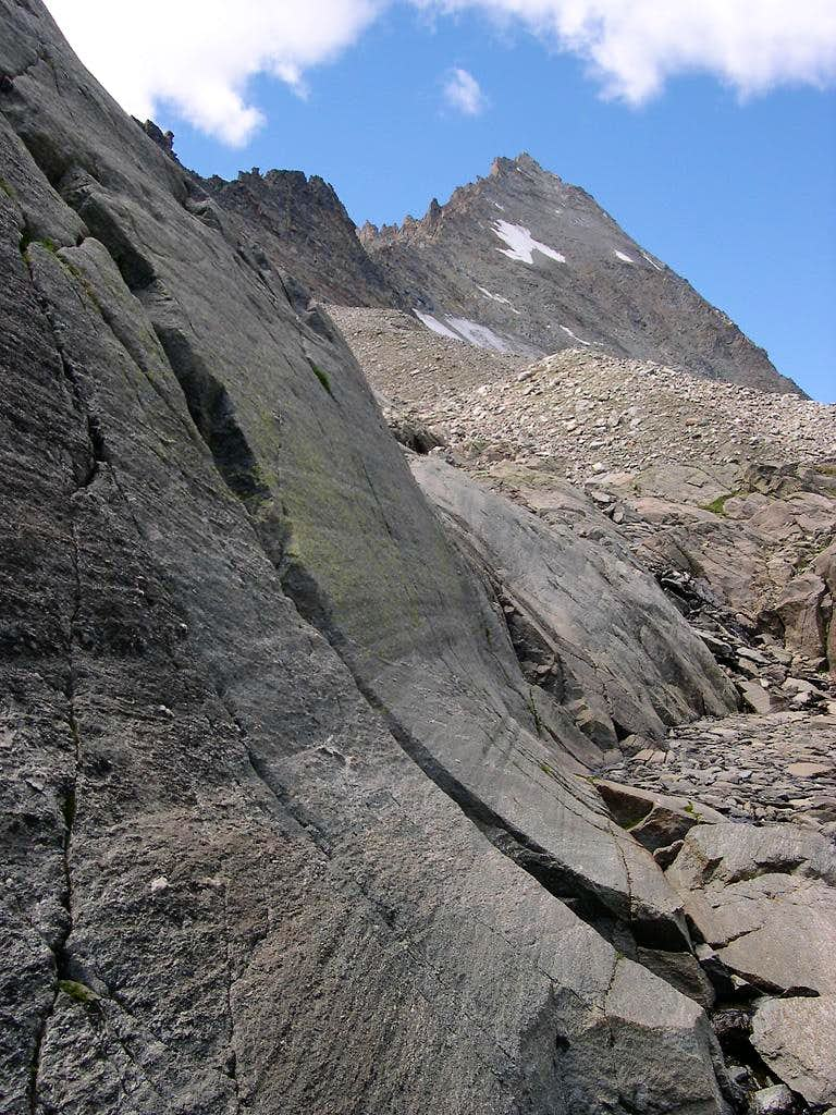 At the foot of Herbetet <i>3778m</i> showing its face<br> between East ridge and N-N-E arête