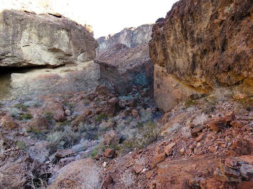 End of the walkway on the right (east) wall of the canyon