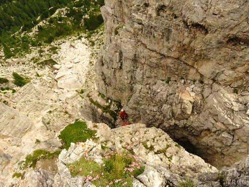 Jan belaying me on the last pitch of Via del diedro, Torre Romana