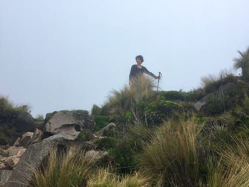The saddle between main and secondary summits of Fuya Fuya