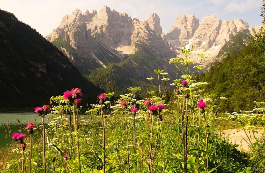 Monte Cristallo north face from the banks of Lago di Landro