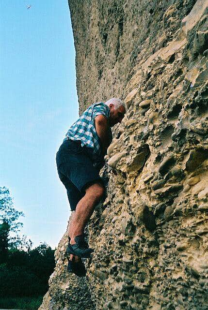 Ivano climbing the bizarre...