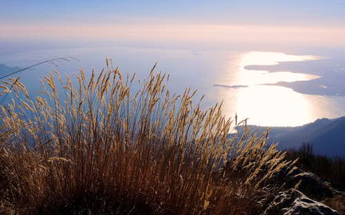 Wide S basin of Garda Lake seen from Pizzocolo