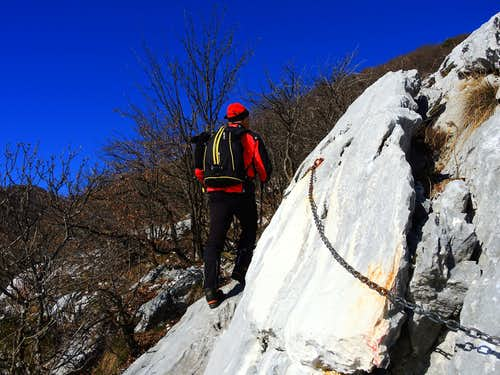 Fixed rope on Pizzocolo S Ridge