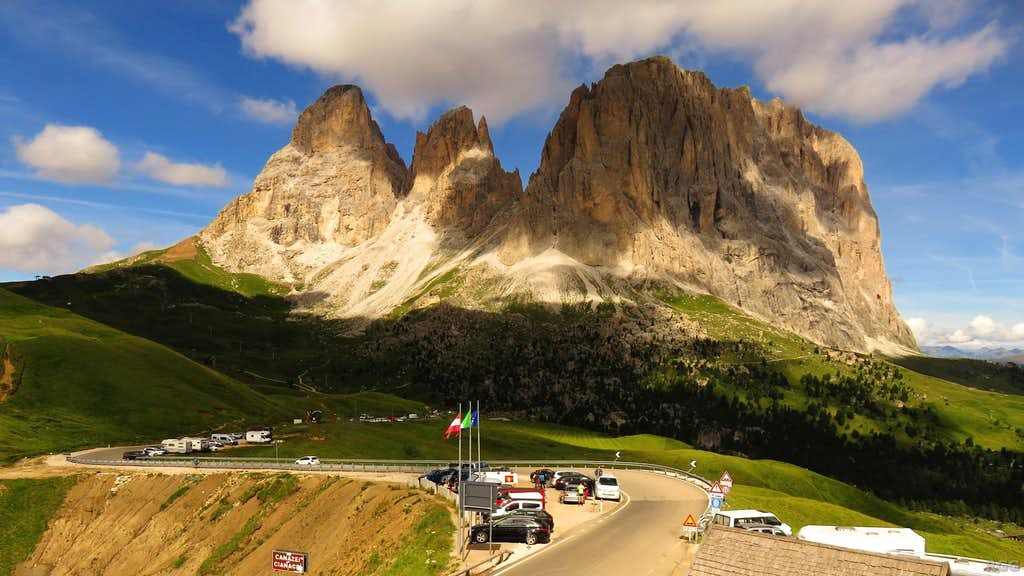 Sassolungo from the Sella Pass