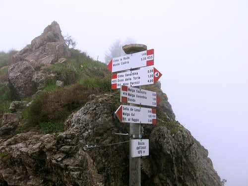 Signpost on Bocca dell'Ussol