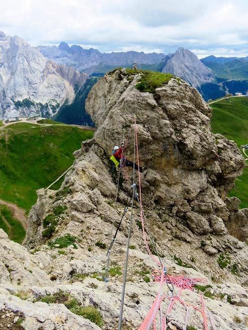 Tyrolean traverse high on Sass Becè