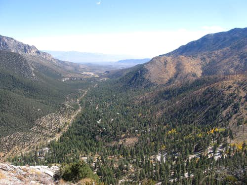 Looking Back Down Kyle Canyon From the Top of Cathedral Rock