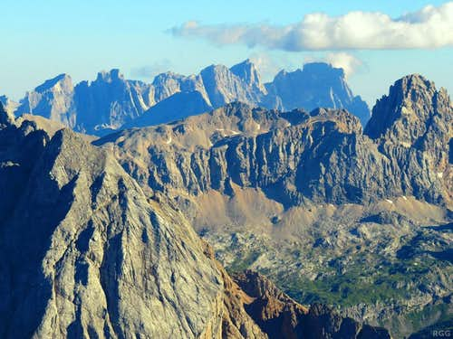 Zooming in on the Pale di San Martino group from Sass Pordoi