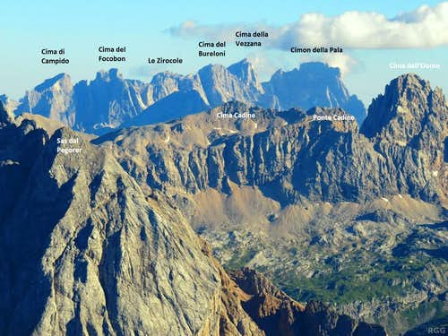 Labeled Pale di San Martino group, zoomed in from Sass Pordoi