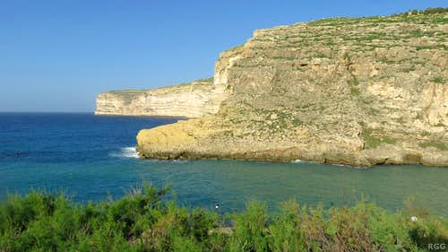 The cliffs west of Xlendi Bay