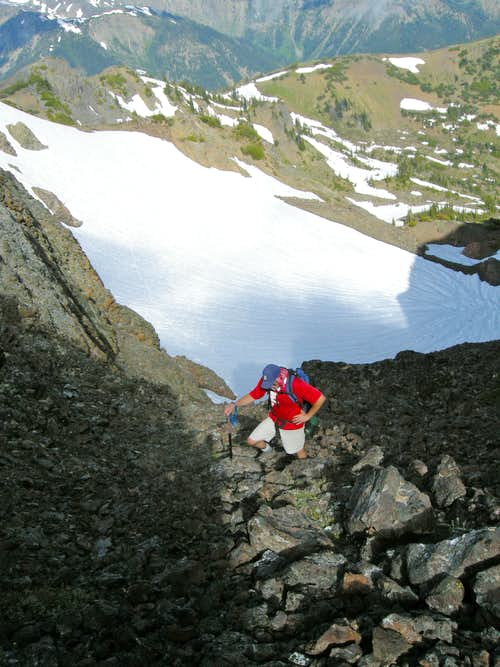 Climbing to summit ridge of Boulder Ridge