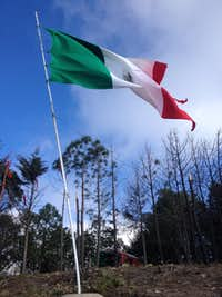 El Brujo summit flag and chapel