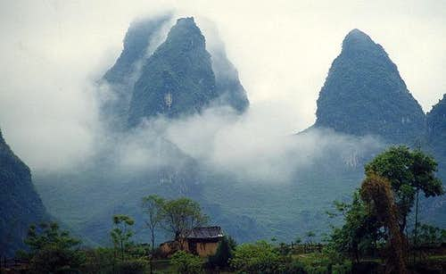 The karst mountains near...