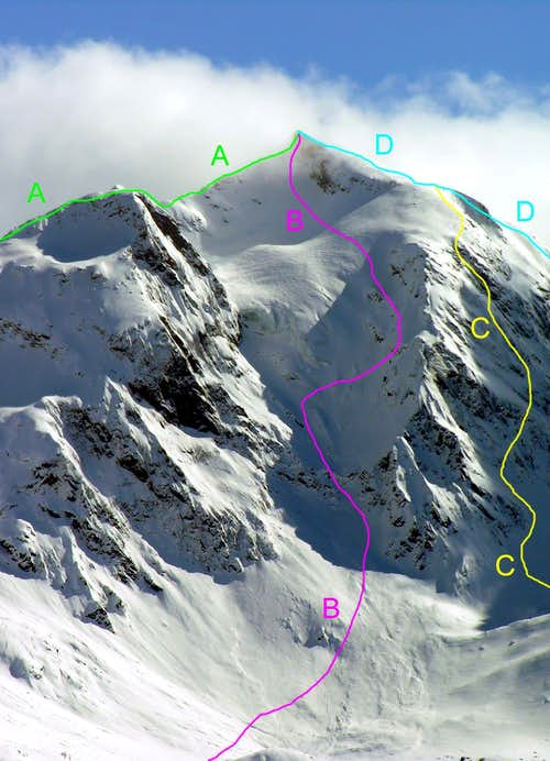 The main routes of Aiguille de la Grande Sassière, Rutor, Grande Rousse,  Monte Berio Blanc and other