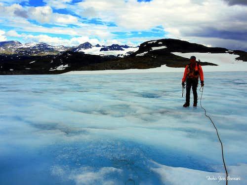 The blue surface of Fannaråkenbreen glacier