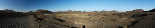 The lava sea with Montaña del Cuervo to the right