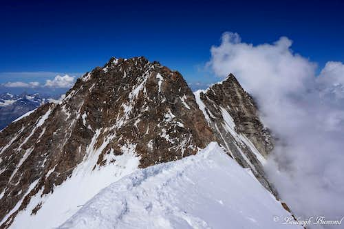 Dufourspitze (15.203ft / 4634m) and Nordend (15.122ft / 4609m)