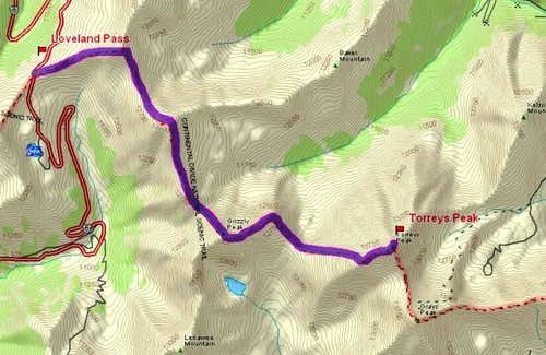 Loveland Pass Route Map