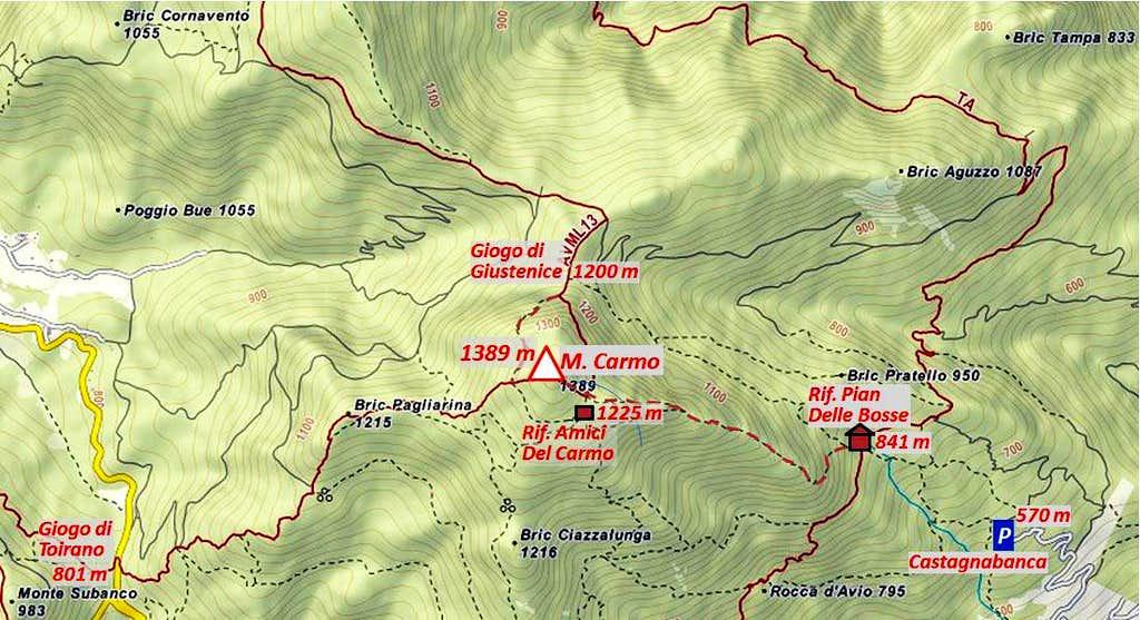 Monte Carmo di Loana map