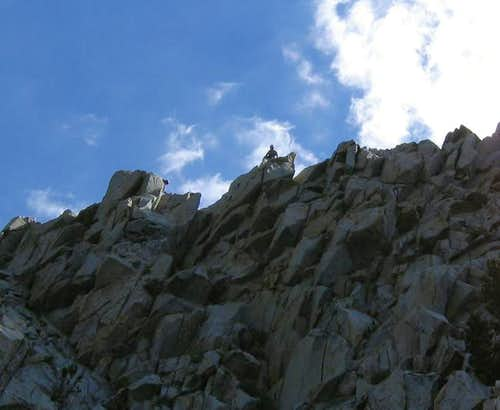 Climbers traverse from the...