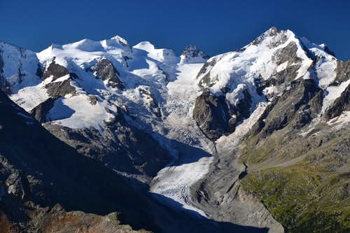 Bellavista, Piz Bernina and Morteratsch glacier