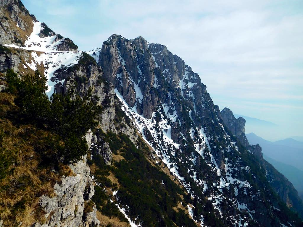 Snow gullies on the S face of Monte Caplone